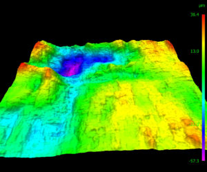 3D topography image of a metal fracture surface