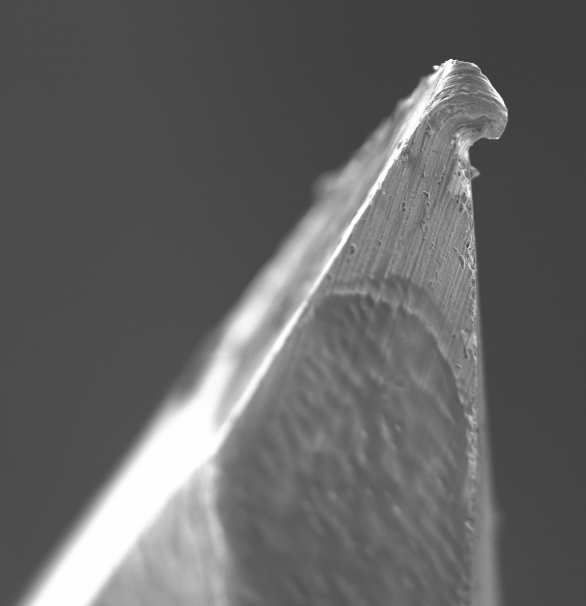 Scanning electron microscopy picture of the tip of a hypodermic needle